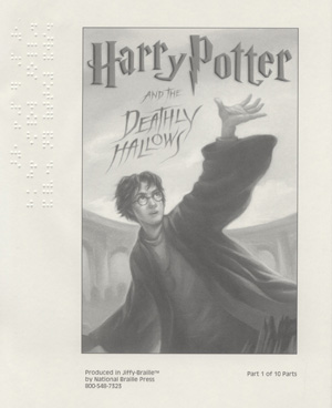 Cover of the Braille edition of _Harry Potter and the Deathly Hallows_