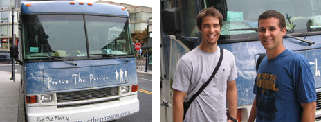 The front of the Pursue the Passion bus, Zach Hubbell, and Brett Farmiloe