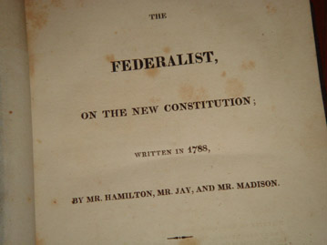 Book cover, the Federalist papers, 1818 edition