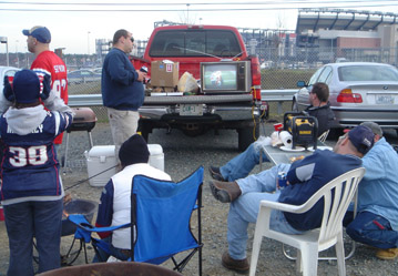 A tailgate party at Gillette Stadium
